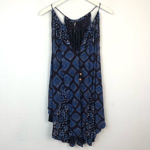 Free People blue boho tie front tunic tank top